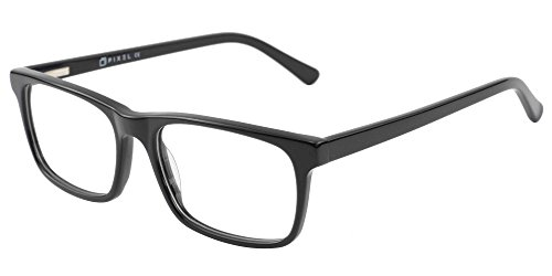 Pixel Eyewear Designer Computer Glasses with Anti-Blue Light Tint UV Protection, Anti-Glare, Full Rim, Acetate Frame Black Color - Buteo Style by Pixel Eyewear (Image #2)