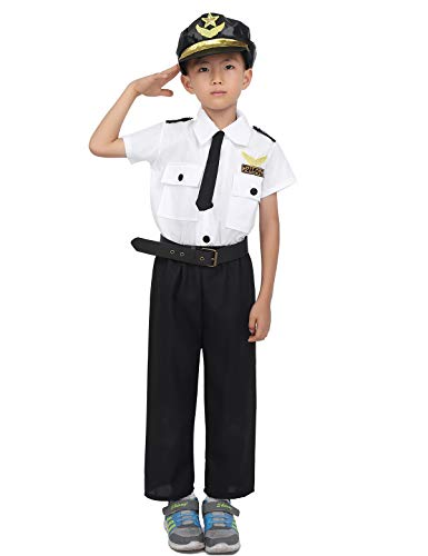 Freebily Kids Deluxe Airline Pilot Aviator Costume Short Sleeve Shirt with Pants Hat Necktie Belt Set Halloween Party Cosplay White&Black 7-8