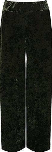 WearAll Women's Plus Velour Velvet Wide Flared Leg Pocket Palazzo Pants - Green - US 12-14 (UK 16-18) (Green Velour Pants)