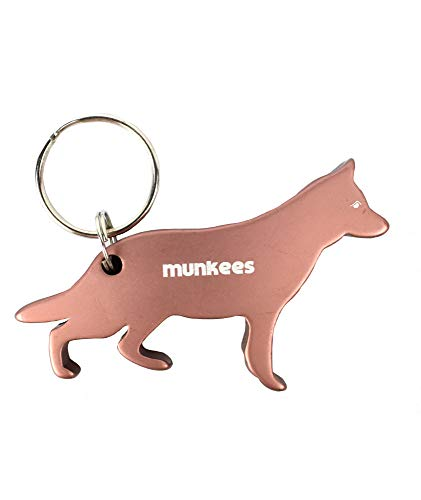 Munkees Dog Bottle Opener Keychain, Mini Pet Doggy Can Opener Key Ring, Small Pocket Beer & Wine Caps, Cute Puppy Key Chain - Assorted Colors (German ()