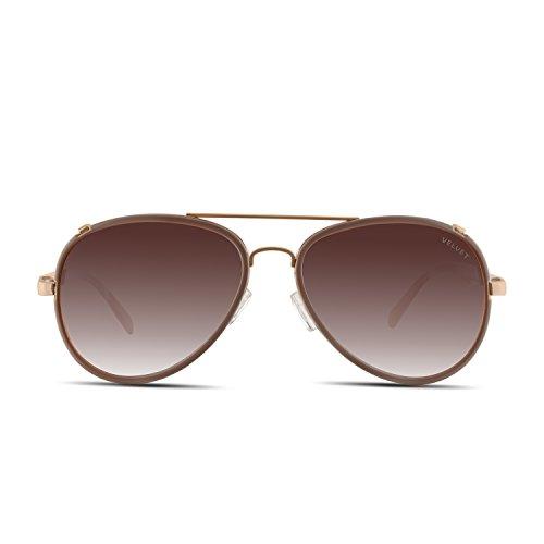Velvet Trends Gloria   Aviator Women Sunglasses (Mauve Frame/Brown Rose Lens) - Frame Mauve Lenses