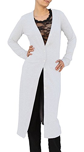 Ooh La La Front Button Long Lightweight Knit Cardigan Sweater Type Jacket Duster with Back Waist Shirring (Small 32-33, White) (Featherweight Long Cardigan)