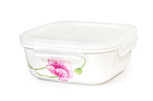 Small Square Baking Dish - Lock & Lock Ceramic Bowl Square Small 320ml / 11oz Sophie Pattern Oven, Microwave and Diswasher Safe