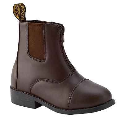 Saxon Girls Equileather Zip Front Boots, Brown, Child Size 2