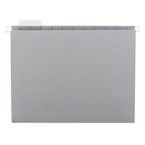- Smead Hanging File Folder with Tab, 1/5-Cut Adjustable Tab, Letter Size, Gray, 25 per Box (64063)