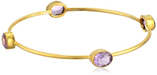 Gold-Plated Sterling Silver Faceted Amethyst Bangle Bracelet, 2.5