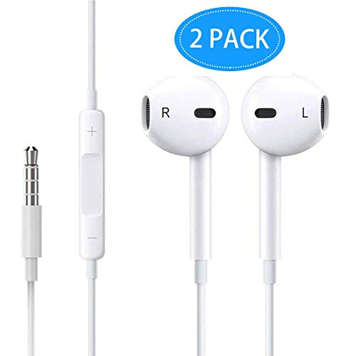 Headphones in-Ear Earbuds,[2 Pack] 3.5mm Wired Earphones Noise Isolating Cancelling Ear Buds Headsets Built-in Microphone & Volume Control for iPhone/iPod/iPad/Samsung/Android/MP3/MP4