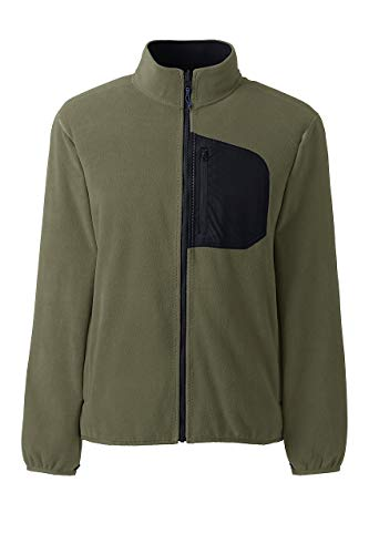 (Lands' End Men's Thermacheck 200 Fleece Jacket, L, Smokey Olive)