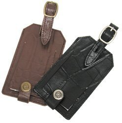 Travel Smart Embossed Genuine Leather Luggage Tag (Color May Vary)