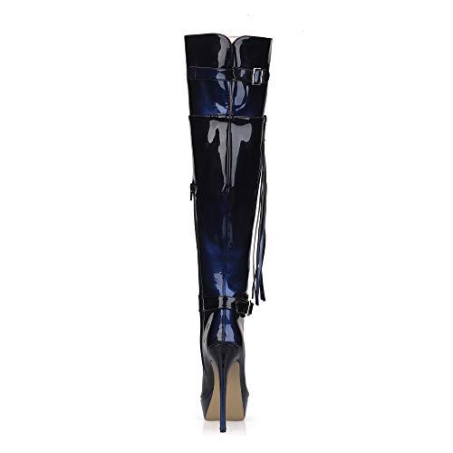 Bottes Verni Hautes Noir Talons Plateforme Femme À en Bottes d'hiver Hauts Boutons 3CM Glissière Chaussures Boucle Cuir À pour 14CM Pointu Bleu À Bout rAgvIrwq0