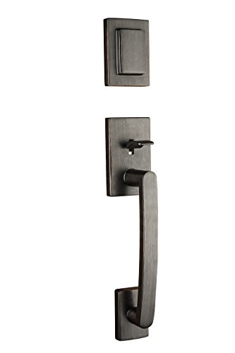 glass Single Cylinder Handleset with Spyglass Lever Featuring Smartkey in Venetian Bronze (Baldwin Hardware Contemporary Series)