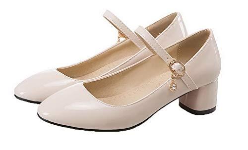Donna AllhqFashion Tonda Ballet Flats Punta Beige Puro FBUIDD006134 Rdq1wqT