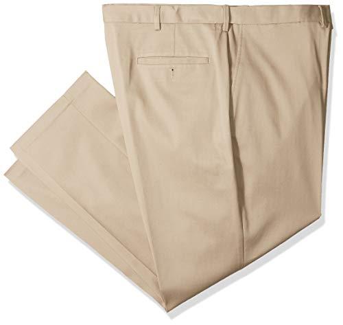 Haggar Men's B&T Premium No Iron Khaki Classic Fit Flat Front Casual Pant, 44Wx34L