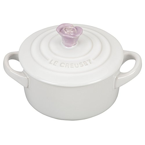 - Le Creuset White Stoneware 8 Ounce Mini Round Cocotte with Provence Flower Knob