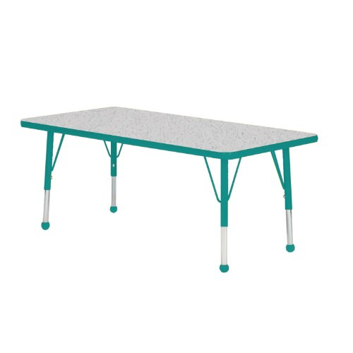 """Creative Colors N3048TL-TB Activity Table, Ball Glides, Toddler Height, 30"""" x 48"""", Rectangle, Gray Nebula Top, Teal Edge"""