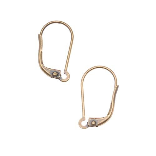 Beadaholique JW232/I/AB Earring Findings Lever Backs, Antiqued Brass, Pair of 5
