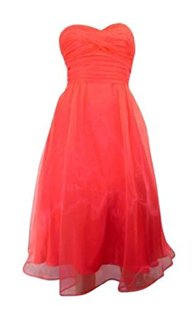 Debenhams Debut Coral Strapless Fit & Flare Prom Dress Overlaid with Organza (size ...