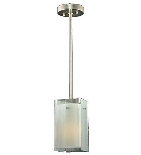 Meyda Tiffany Custom Lighting 111396 Quadrato Reeded 1-Light Mini-Pendant, Nickel Finish with Clear Reeded Art Glass