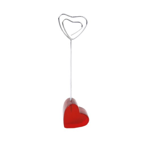 (Translucent Red Love Heart Base Card Picture Memo Photo Clips Holder Heart Shape Wire Clip)