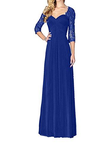 Chiffon Spitze Abiballkleider Aermel Damen Abendkleider 3 Charmant Brautmutterkleider Royal 4 Lang Partykleider Jaeger mit Blau Gruen F4qwRz