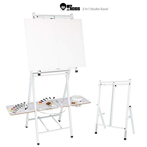 Bob Ross 2-in-1 Studio Easel - As Seen on Netflix Metal Easel Four Legged Tabletop Easel - White - $239.99
