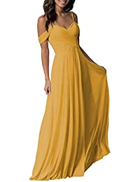 Women's Long Cold Shoulder Pleated Wedding Bridesmaid Dresses