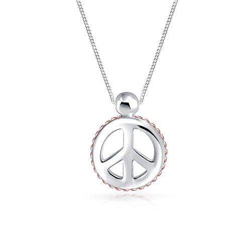 Peace Sign Pendant Pink Crystal Edge Charm 925 Sterling Silver Small Necklace For Women 18 In