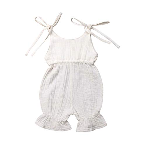AHAYAKU Summer Baby Boys Girls Summer Solid Romper Bodysuit Jumpsuit Outfits Sunsuit White]()