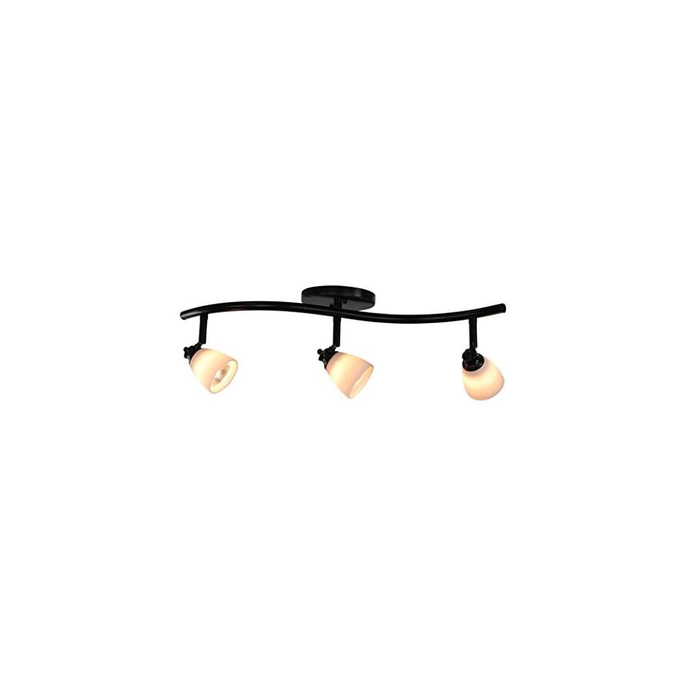 Direct-Lighting 3 Lights Adjustable Track Lighting Kit - Dark Bronze Finish - White Glass Track Heads - GU10 Bulbs…