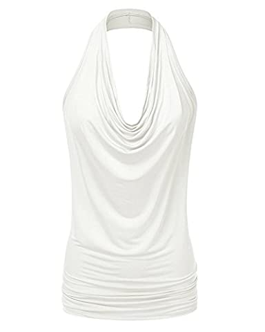 Lanlun Sleeveless Blouses Ladies Solid Tops Sexy Casual Shirts Plus Size , White , Large - Draped Sleeveless