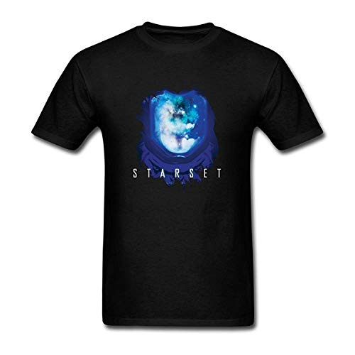 Qonnon Men's Black Short Sleeve Generic Cotton Starset Design T-Shirt