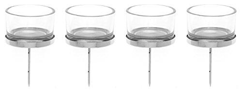 GLOREX 6 7021 001 Kerzenhalter mit Teelichtglas, 4 Stück, 4 x 9 cm, silber