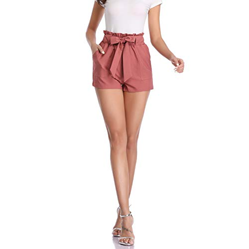 Freeprance Paper Bag Shorts for Women high Waisted Casual Shorts Elastic Waist Front Pockets DK_BRN_M