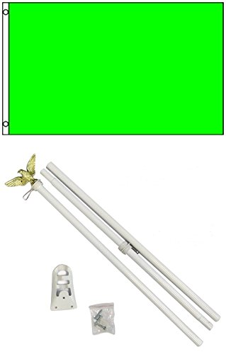 3x5 Solid NEON GREEN Color Business Flag w/ 6' Outdoor Pole