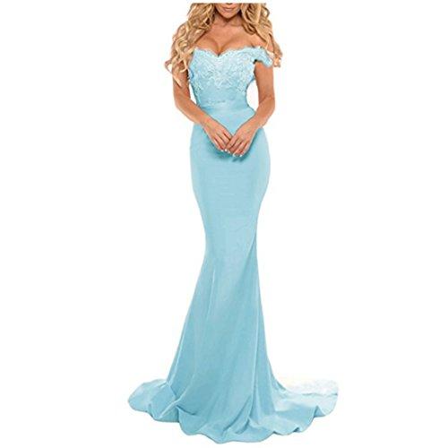 Buy light blue a line prom dress - 4