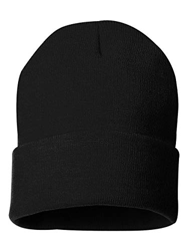 Sportsman 12' Solid Knit Beanie, Black, One Size ()