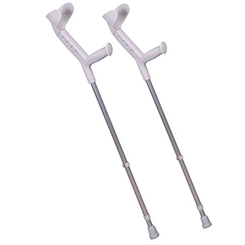 ORTONYX Forearm Crutches with Adjustable Support (1 Pair), Ergonomic Comfortable Wrist Handle, Heavy Duty for Standard and Tall Adults, Lightweight Aluminum
