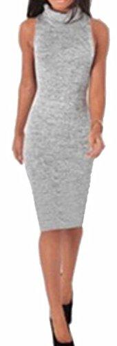 Dress Bodycon Women Grey Jaycargogo Sleeveless Knit Turtleneck Casual Sweater R0CagH