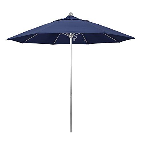 California Umbrella 9' Round Aluminum/Fiberglass Umbrella, Push Open, Silver Pole, Olefin Navy Blue Fabric