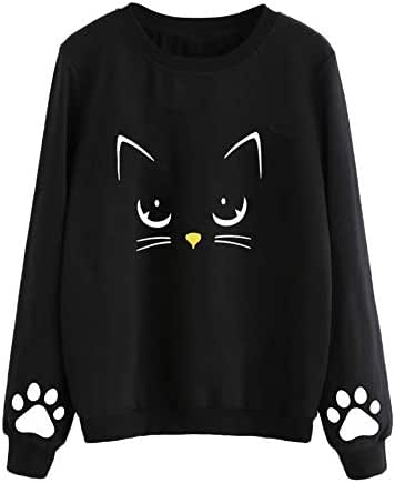 Women Autumn and Winter Cat Print Sweater Round Neck Fashion Casual Long Sleeve Regular Blouse Outerwear Tops
