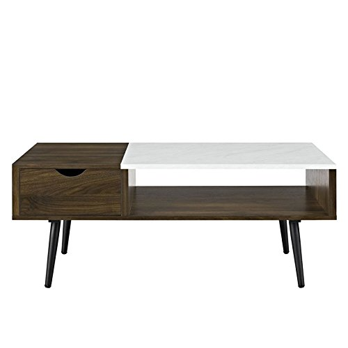 Walker Edison Furniture Company Wood and Faux Marble Coffee Table in Dark Walnut