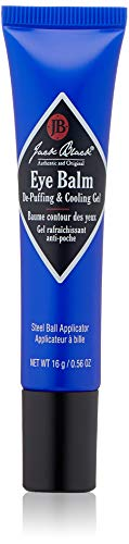 JACK BLACK – Eye Balm De-Puffing & Cooling Gel – Refresh Tired-Looking Eyes, Lightweight Gel Formula, Stainless Steel Applicator, Chamomile Extract, Grape Seed Extract, Vitamins A, C & E, 0.56 oz.Tube