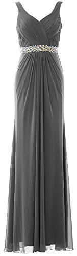 MACloth Women Sheath Long Prom Dress Straps V Neck Wedding Evening Formal Gown Gris