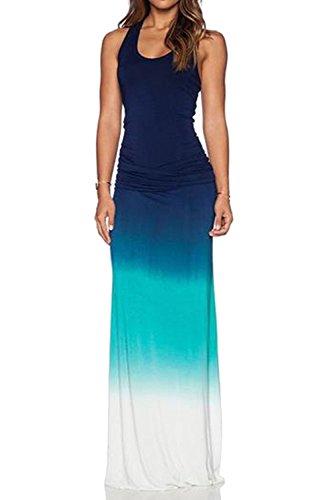 WIWIQS Women`s Tie Dye Ombre Dress Tank Top Casual Maxi Long Dress Dark Blue and Green ()