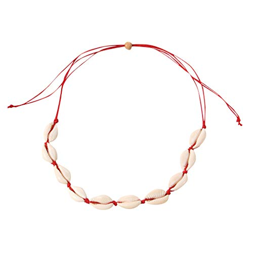 (【MOHOLL】 Natural Shell Choker Handmade Rope Pearl Hawaii Beach Necklace Jewelry for Women Girls Red)