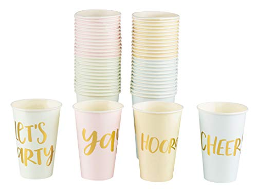 Paper Party Cups - 52 Pack Disposable Party Cups, Gold Foil Party Supplies for Bachelorette Party and Birthday Decorations in 4 Designs, Lets Party, Hooray, Yay, and Cheers, 12 Ounce
