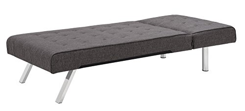 Position Futon - DHP Emily Linen Chaise Lounger, Stylish Design with Chrome Legs, Grey
