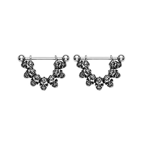 (Pierced Owl Lucky Seven Skull Link Stainless Steel Barbell Nipple Shields, Sold as a Pair)