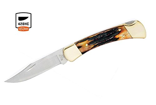 Buck Knives 110 Genuine Amber Stag Folding Hunter Knife Exclusive 110STSSH1 - Genuine Stag Leather Sheath