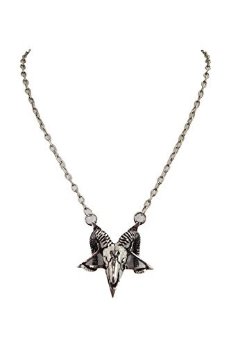 Restyle Gothic Gypsy Pentagram Ram Skull Satanic pendant Necklace (Silver) (Jewelry Pendant Ram)